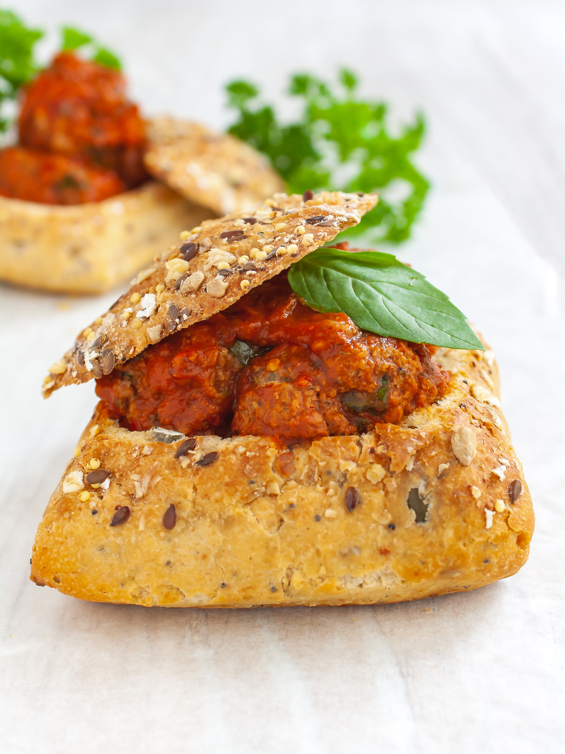 Healthy Gluten, Dairy and Egg-Free Meatballs in Bread Bowl Thumbnail