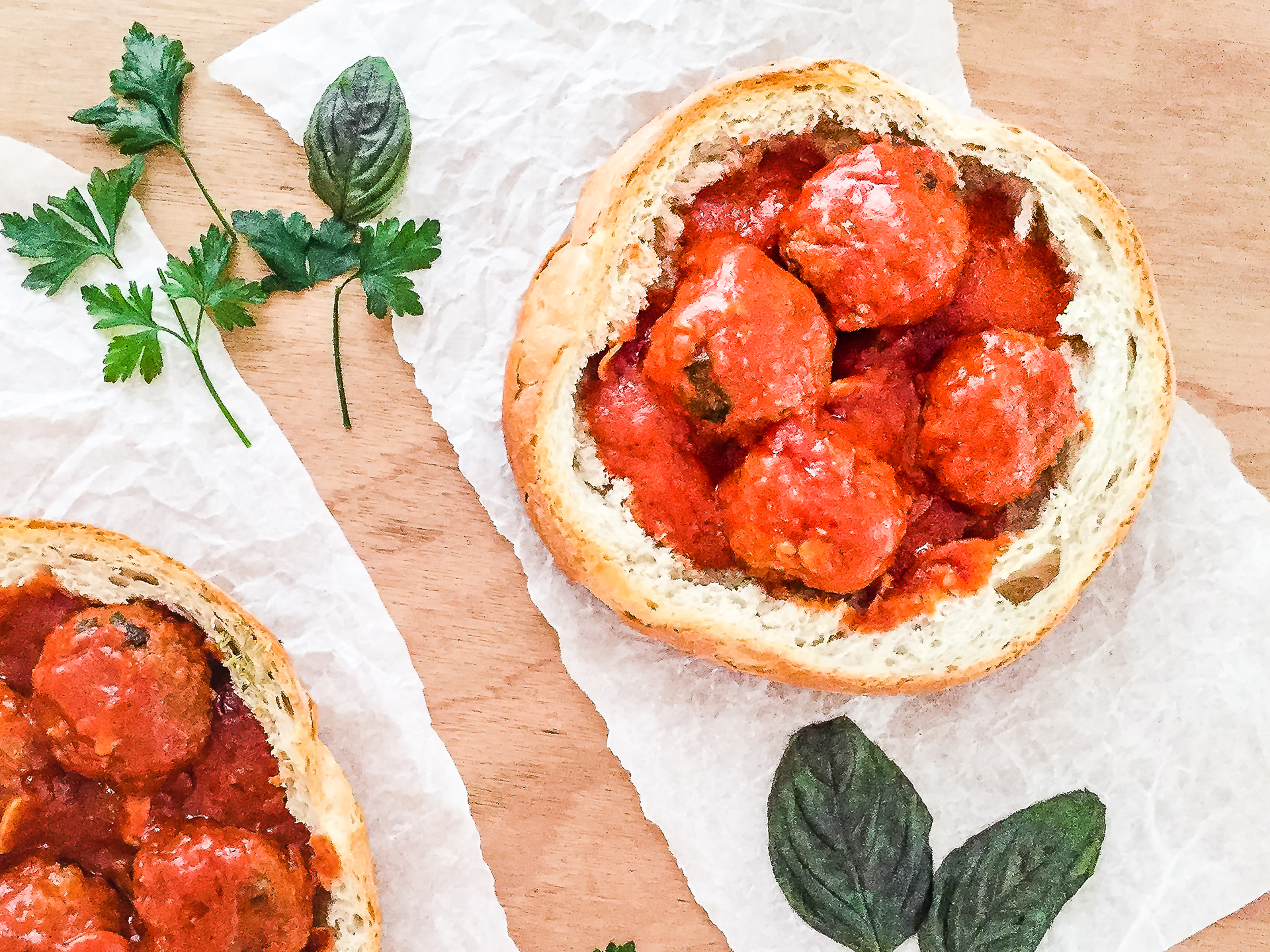 Meatballs with Tomato Sauce in a Bread Bowl Preview
