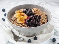 Peanut Porridge with Blueberry Compote