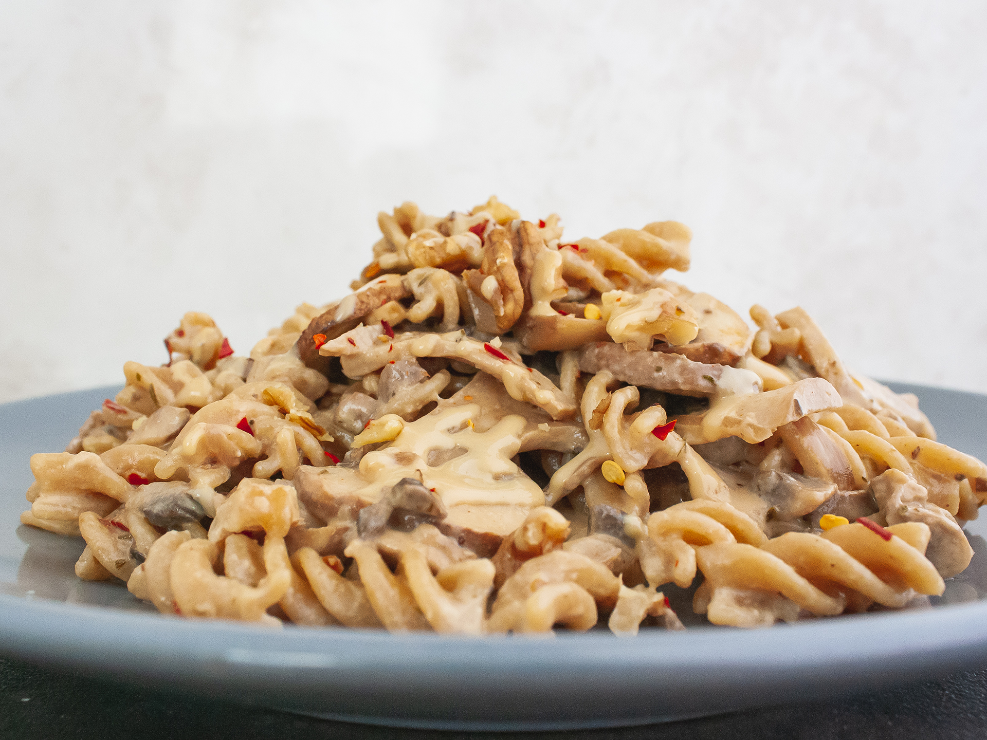 Creamy Vegan Pasta with Spicy Mushrooms, Walnuts and Tahini Sauce Preview