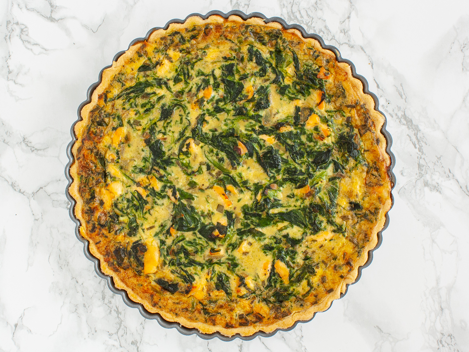 Step 4.1 of Dairy Free Salmon and Spinach Quiche Recipe