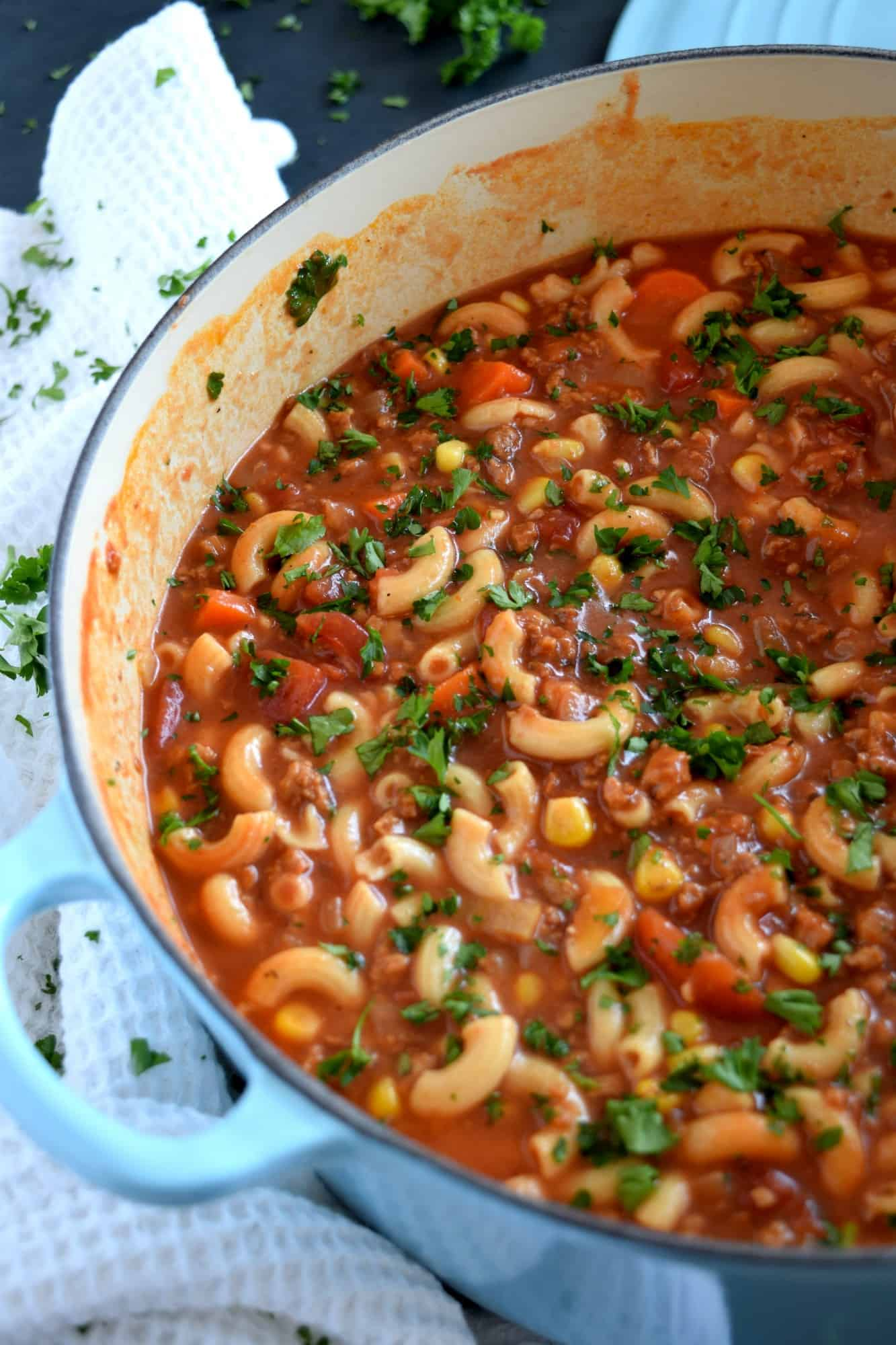 Beef and Pasta Tomato Soup