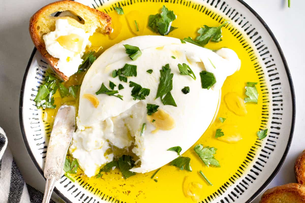Burrata Appetizer with Garlic Olive Oil