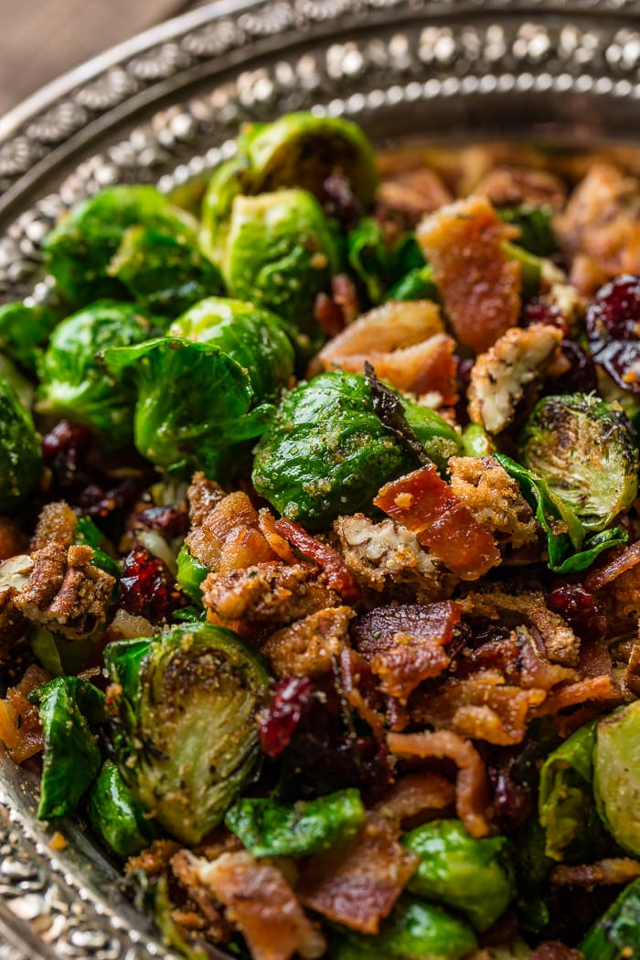 Candied Pecan Bacon Brussel Sprouts