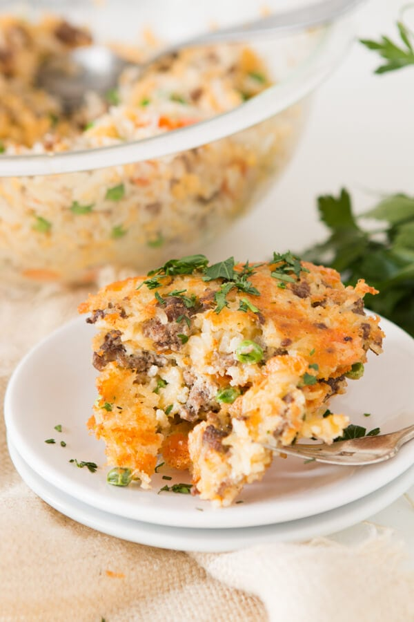 Easy Cheesy Ground Beef and Rice Cakes
