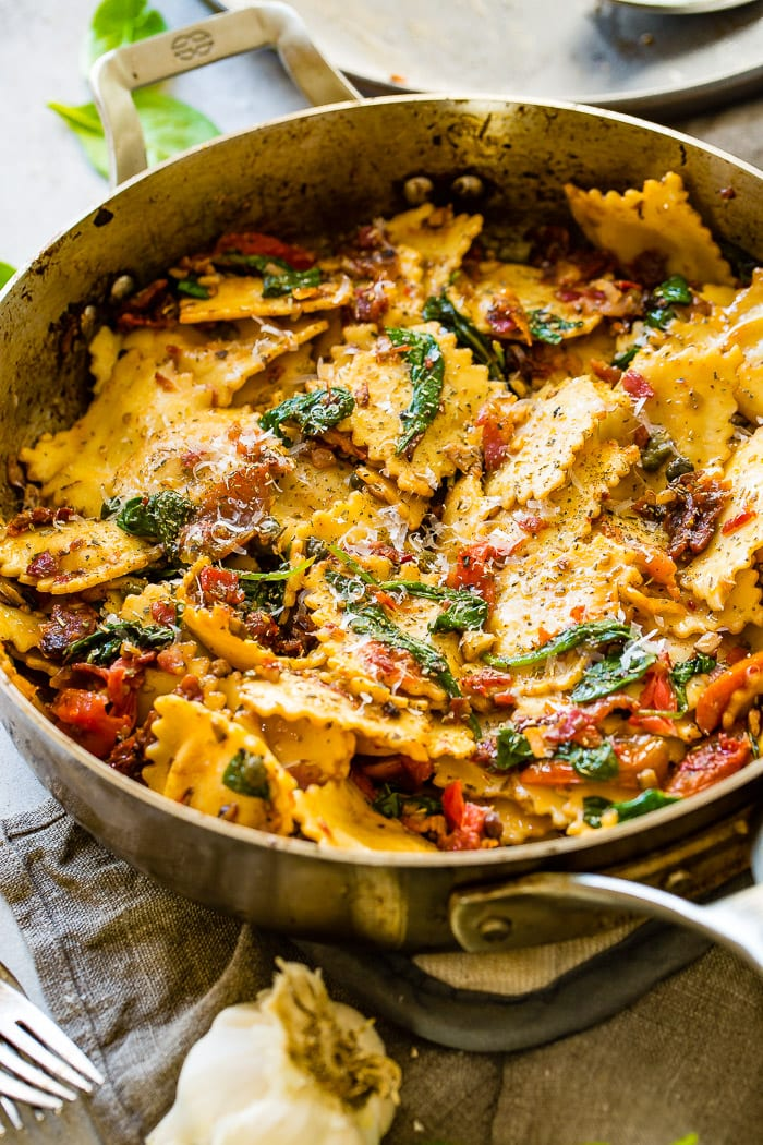 Easy Crispy Pancetta Ravioli with Sun Dried Tomatoes and Spinach