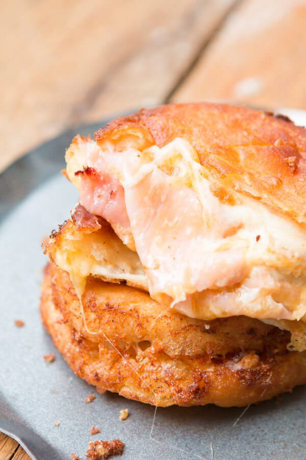 Fried Ham and Cheese Melts