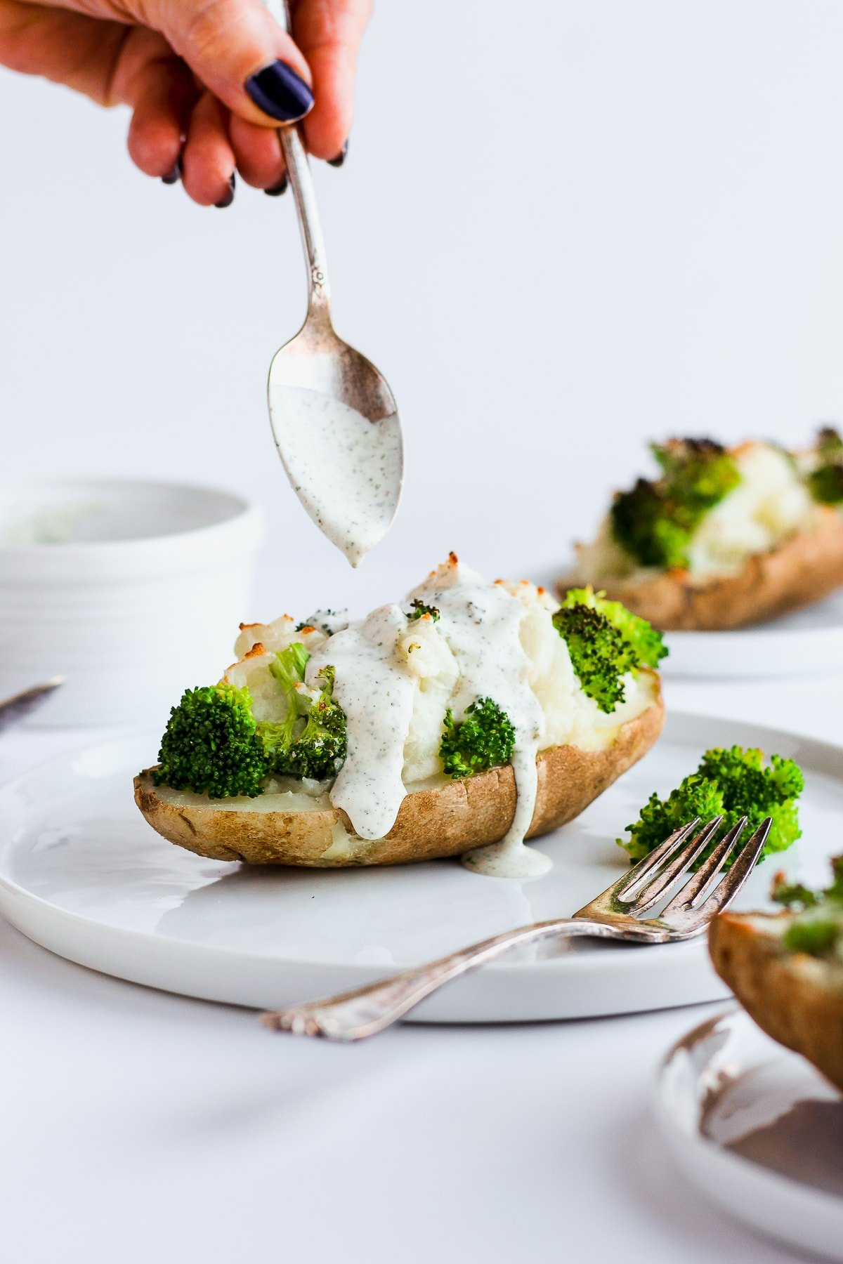 Healthy Twice Baked Potatoes with Broccoli
