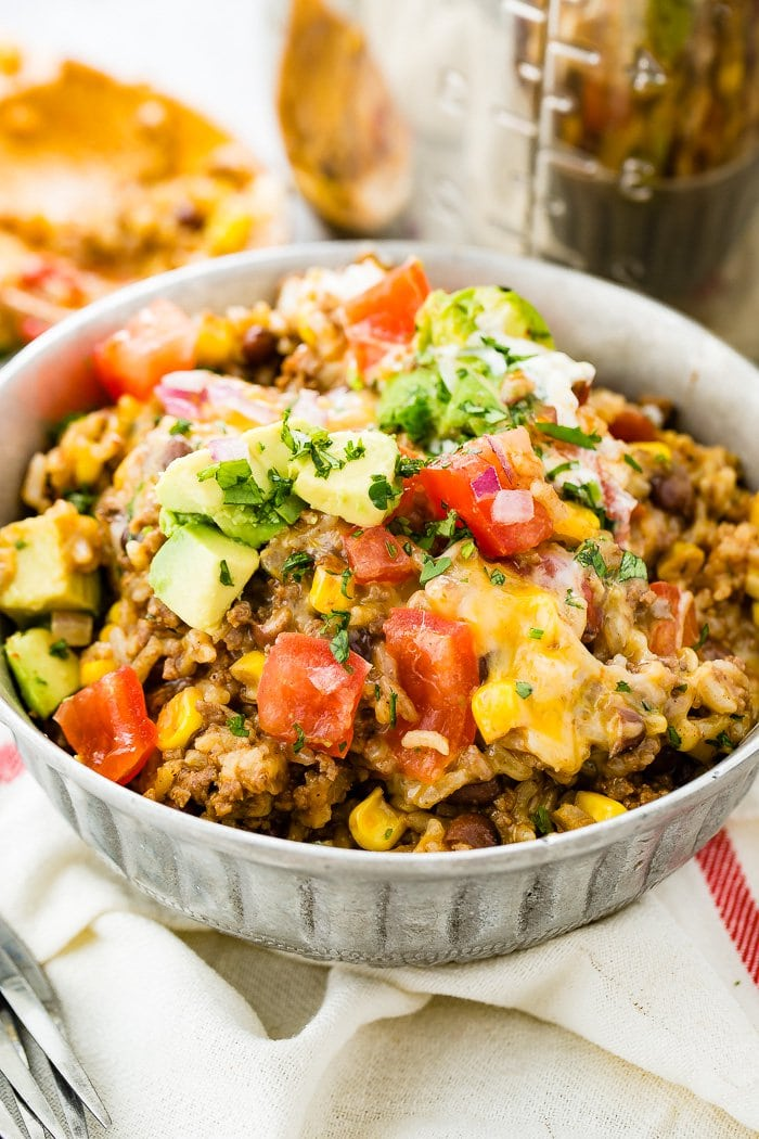 Instant Pot Quick and Easy Ground Beef Burrito Bowls