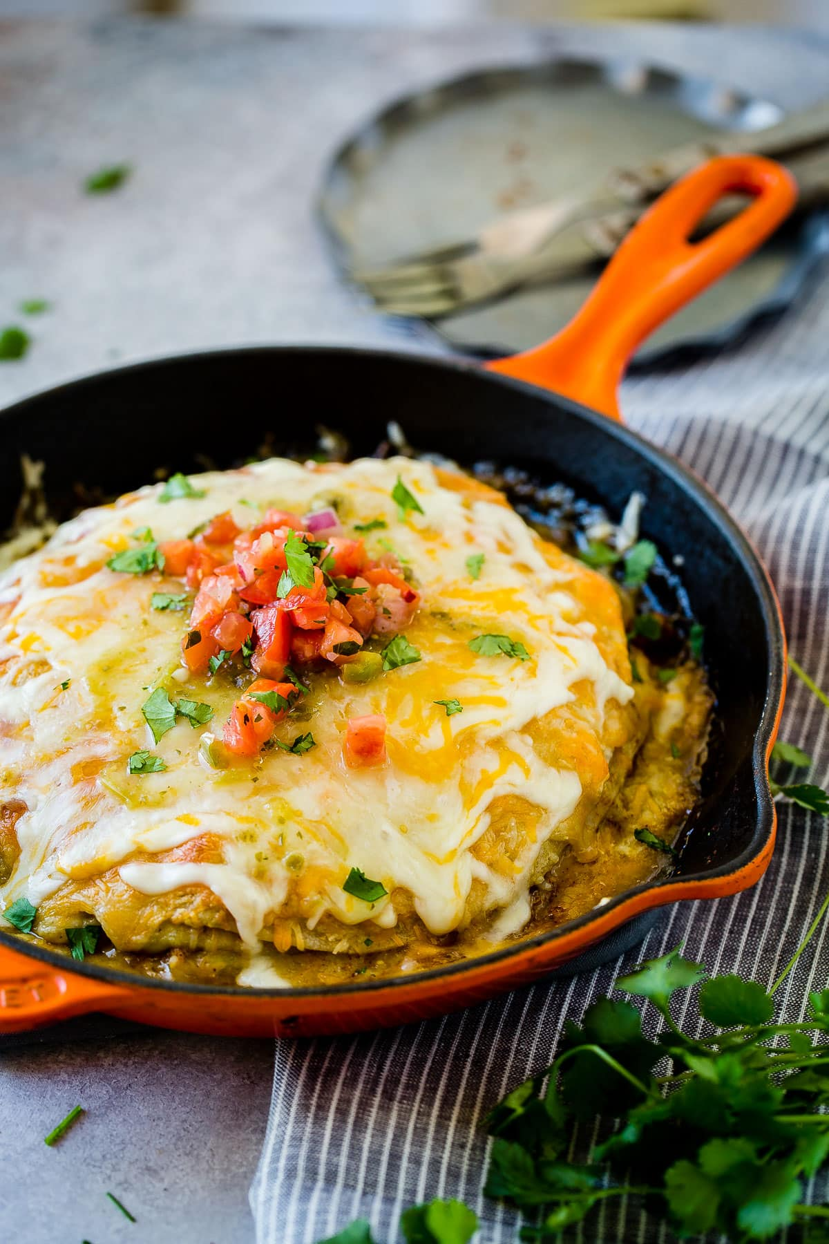 One Skillet Honey Lime Chicken Enchiladas Casserole