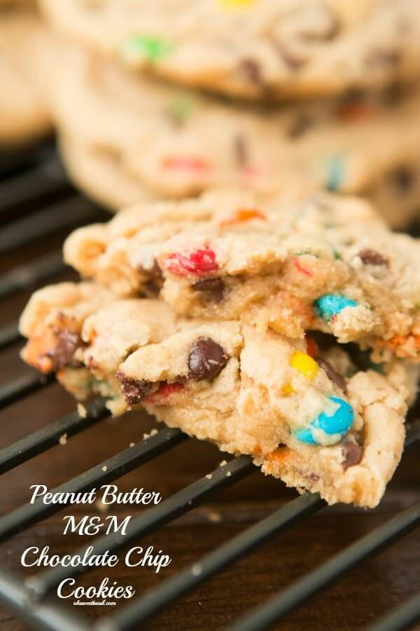 Peanut Butter Chocolate Chip M&M; Cookies