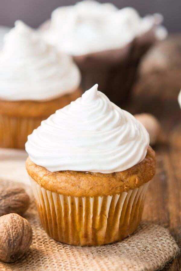 Pumpkin Cupcakes with 7-Minute Maple Frosting