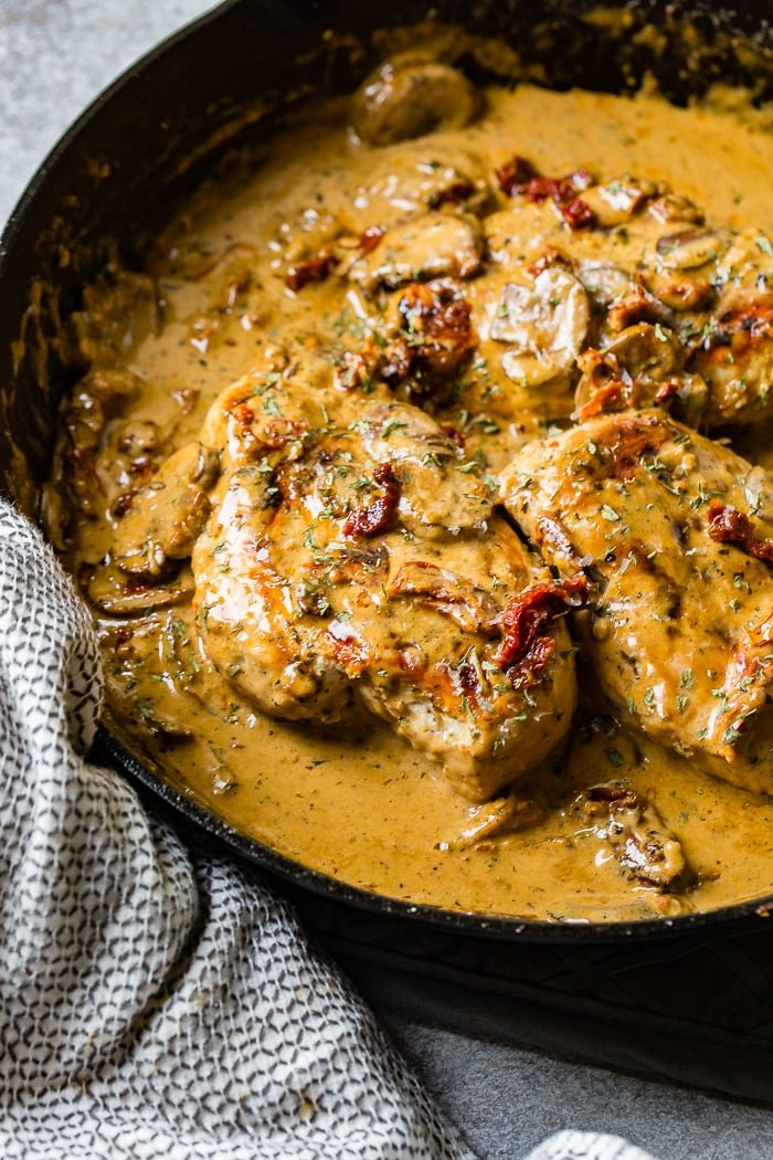 Quick and Easy Creamy Herb Chicken with Sun-Dried Tomatoes