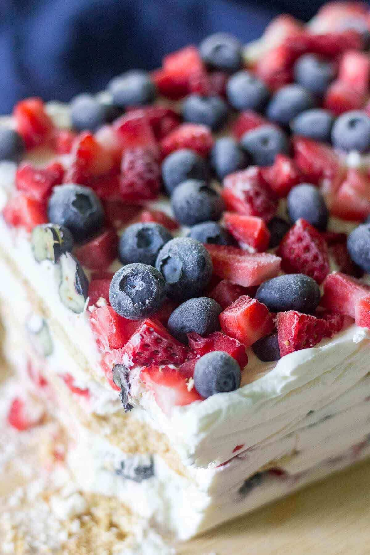 Red White and Blue Icebox Cake