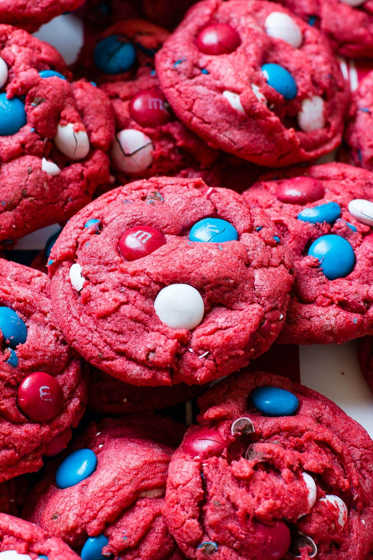 Red White and Blue Red Velvet Cookies