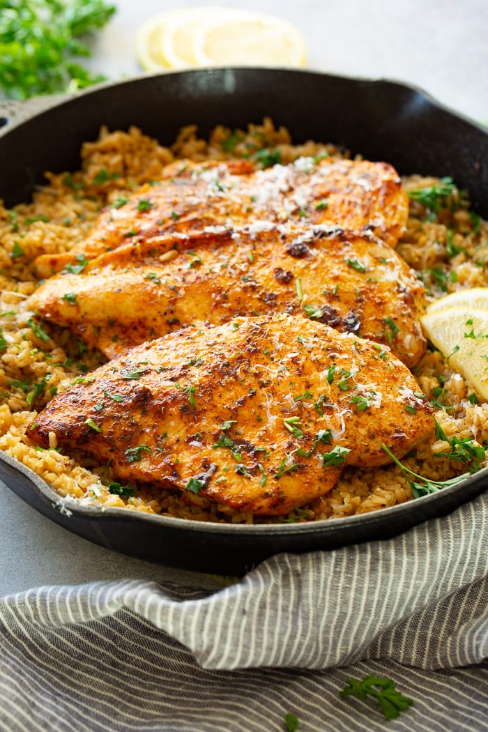 Simple Garlic Butter Parmesan Chicken with Lemon Ricei