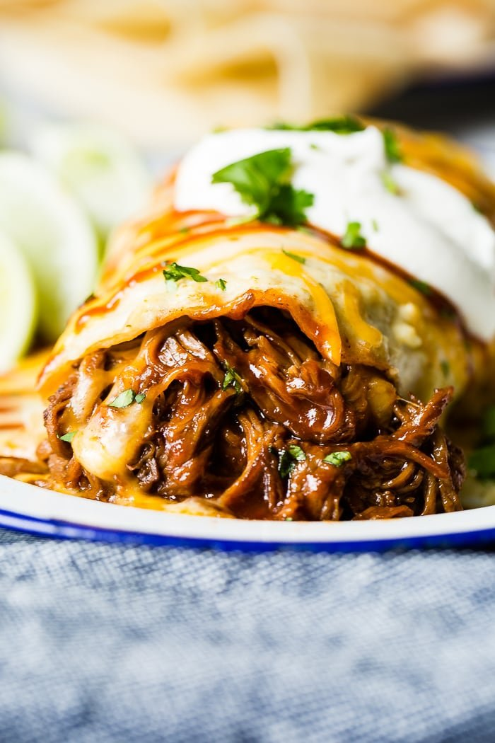 Slow Cooker or Instant Pot Smothered BBQ Beef Burritos