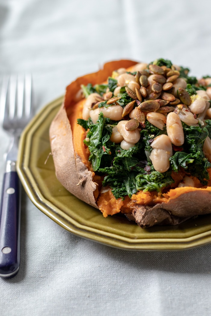 Sweet Potatoes with Lemony Kale and White Beans – the $2 Lunch Series