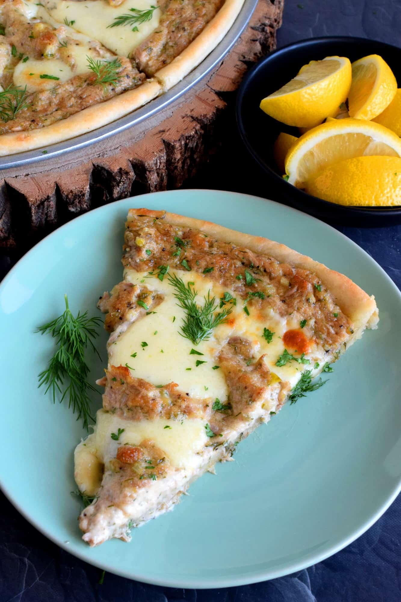 Tuna Pizza with Lemon and Dill