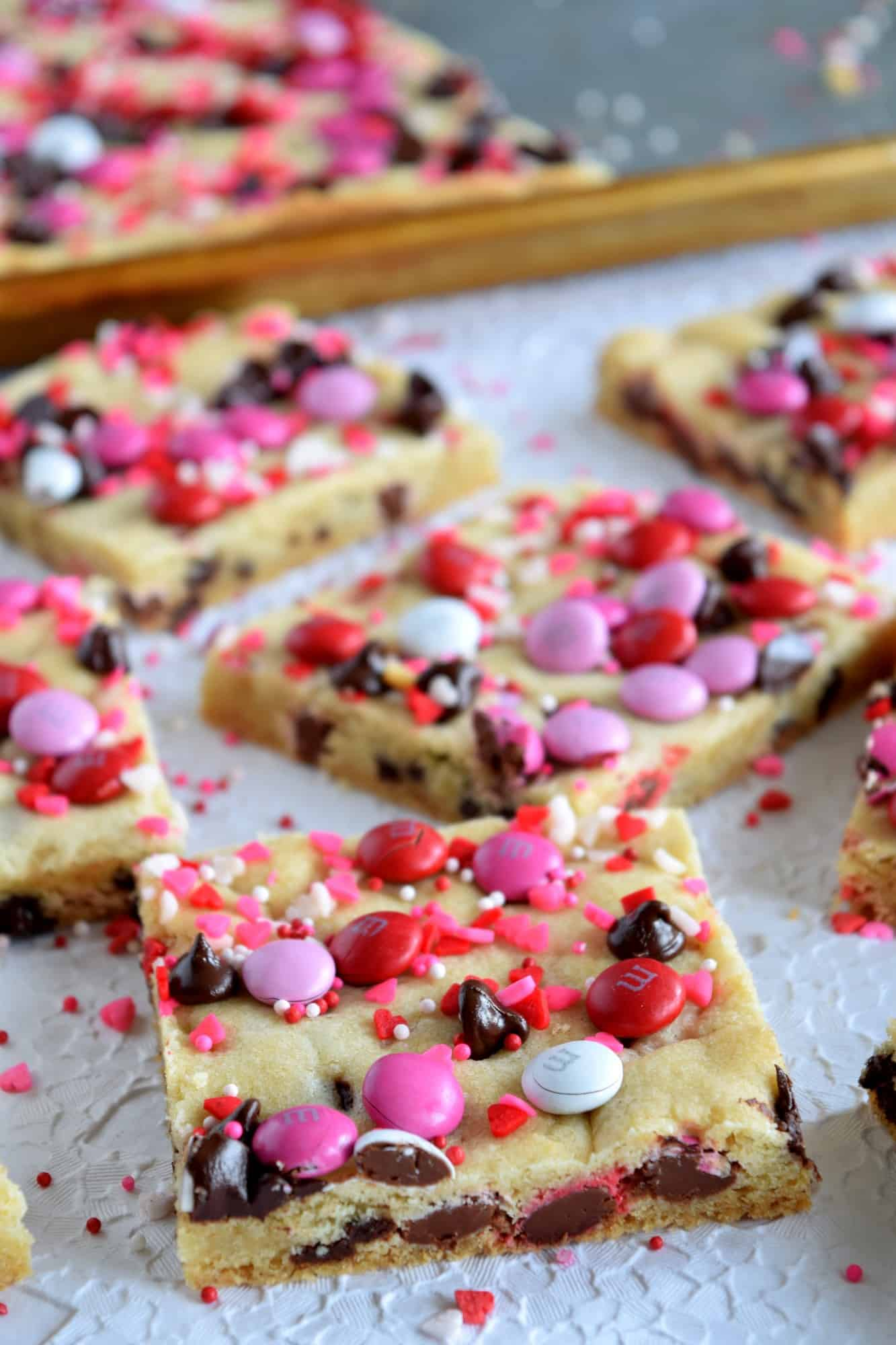 Preview Image for recipe: Be My Valentine Chocolate Chip M&M; Sheet Pan Cookie