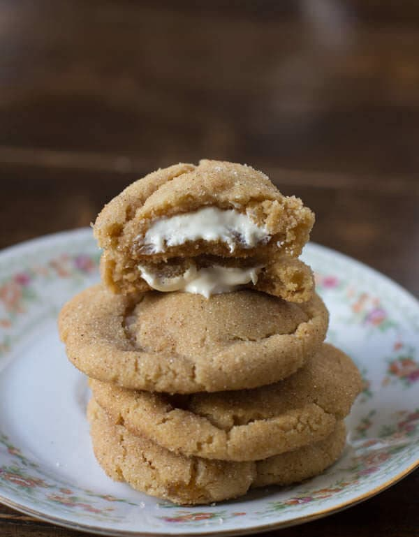 White Chocolate Stuffed Brown Butter Snickerdoodles