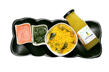 Poha Cooked In Pure Ghee + Cold Pressed Pineapple Juice Combo - 1 Pc
