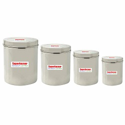 Superbazaar Stainless Steel Containers (3.5-6.4 L, Silver) - Set Of 4
