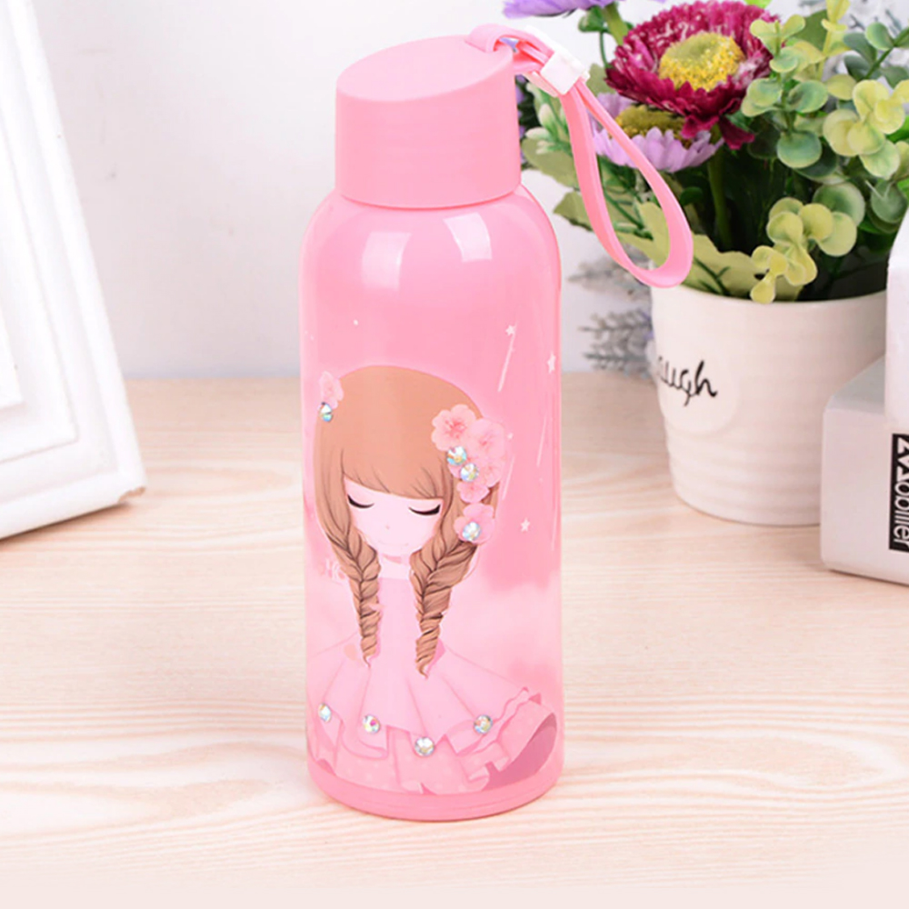Goldtree Plastic Coated Glass Bottle For Kids|baby Infants|school Kids| 300 Ml Bottle (multicolor) - 1 Pc