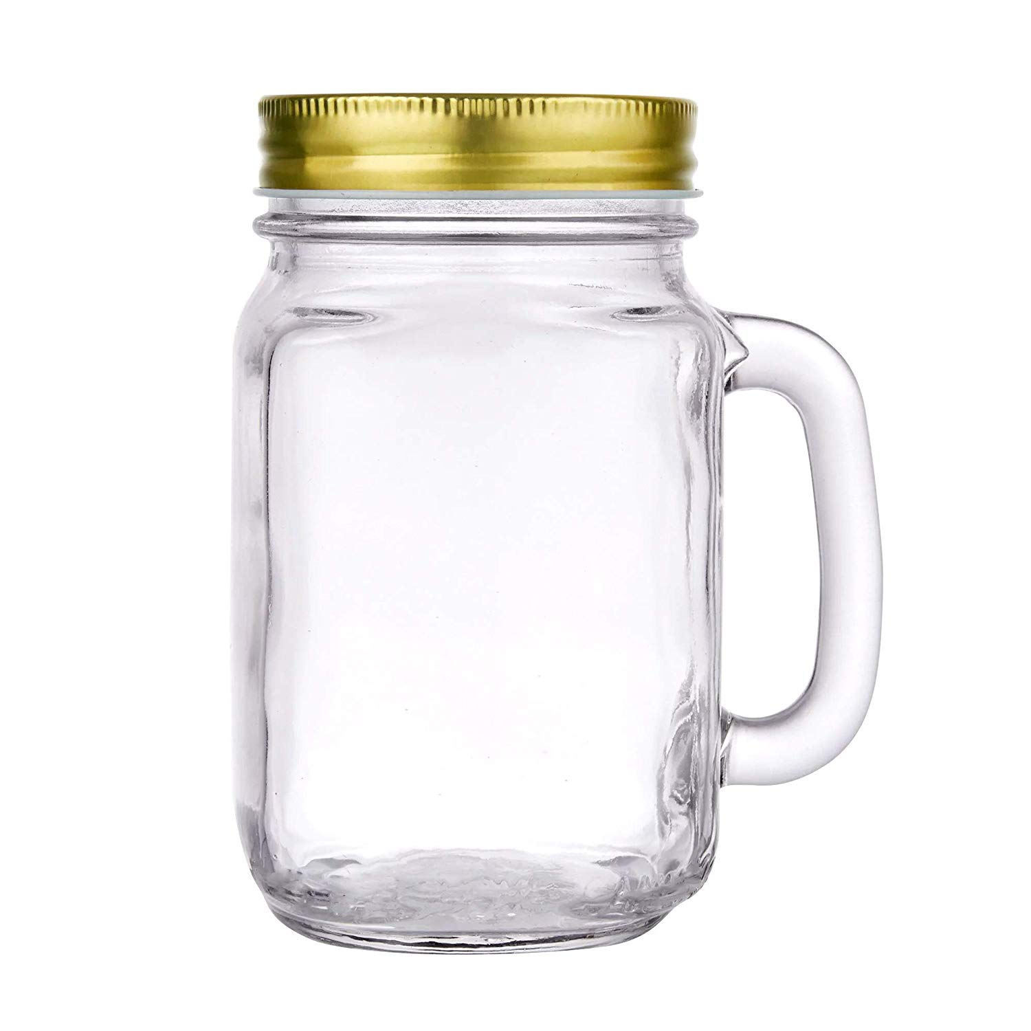 Superbazaar Glass Mason Jar Mug Shot With Handles And Gold Metal Lids 500 Ml - 1 Pc