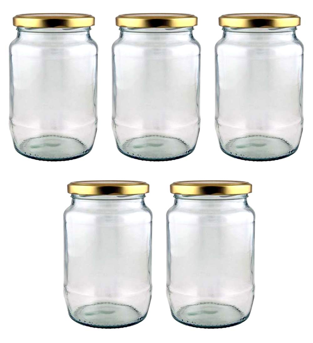 Superbazaar 750 Ml Round Glass Jar Container With Air Tight Cap For Home, Kitchen And Office - 2 Pcs
