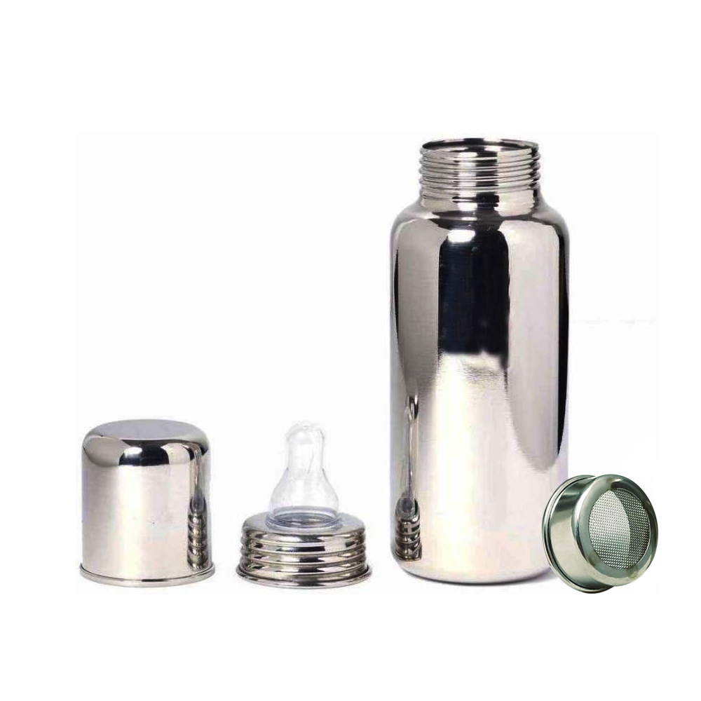 Superbazaar High Quality Stainless Steel Baby Feeding Bottle With Medical-grade Silicon Nipple And Extra Inner Cap For Travelling Purpose (plastic Free Bottle) (size 2) - 1 Pc