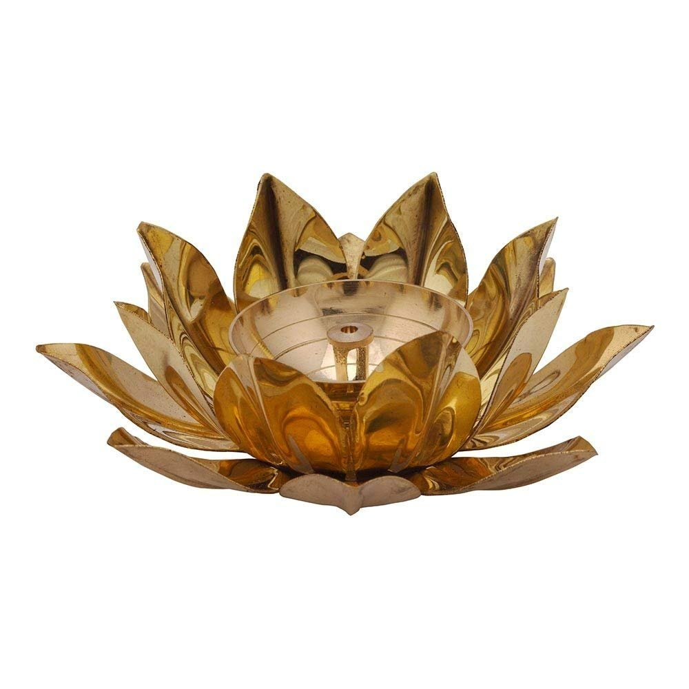 Superbazaar Brass Lotus Kuber Diya With Glass Base For Puja Home Decor - 1 Pc