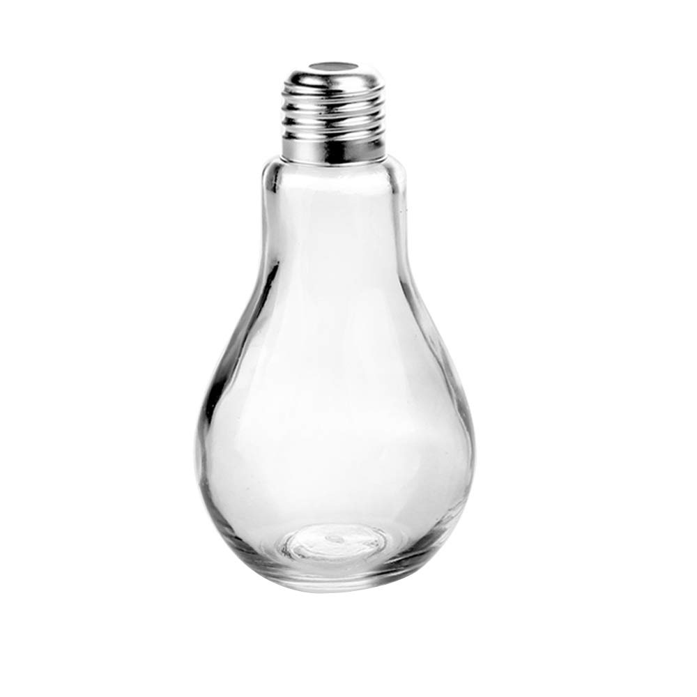 Superbazaar Food Grade Glass Multi Purpose Glassware With Light Bulb Shape Funky Glass Jar With Straw 250 Ml - 1 Pc