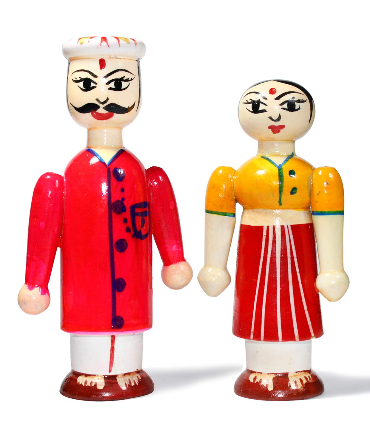 Superbazaar Handcrafted Wooden Dolls - Couple Hand Puppets 1 Pc