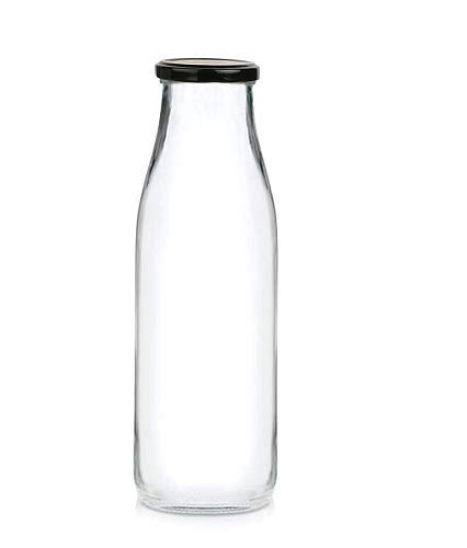 Superbazaar Milk, Water And Juice Glass Bottle With Air Tight Cap - 450 Ml - 1 Pc- Transparent