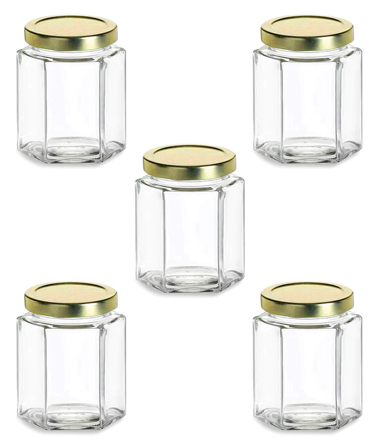 Superbazaar Glass Jar 200 Gram Capacity With Metal Gold Color Rust Proof Air Tight Cap,(set Of 5 Pcs)