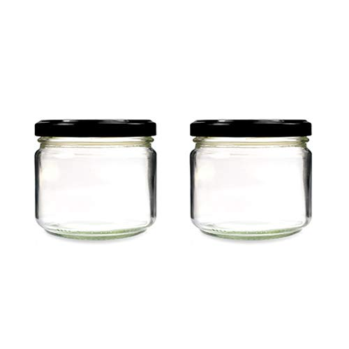 Superbazaar Squat Clear Glass Food Jar With Rust Proof Air Tight 350 Ml(set Of 2)