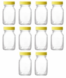 Superbazaar Honey, Juice, Milk & Oil Glass Bottle With Plastic Cap 100 Gm, (set Of 10 Pcs)