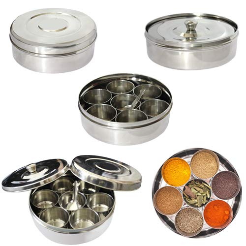 Superbazaar Stainless Steel Masala Dabba Spice Box With 7 Containers And Small Spoon (size No. 11) - 1 Pc