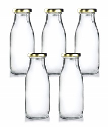 Superbazaar Milk, Water And Juice Glass Bottle With Air Tight Cap - 200 Ml (set Of 5)- Transparent
