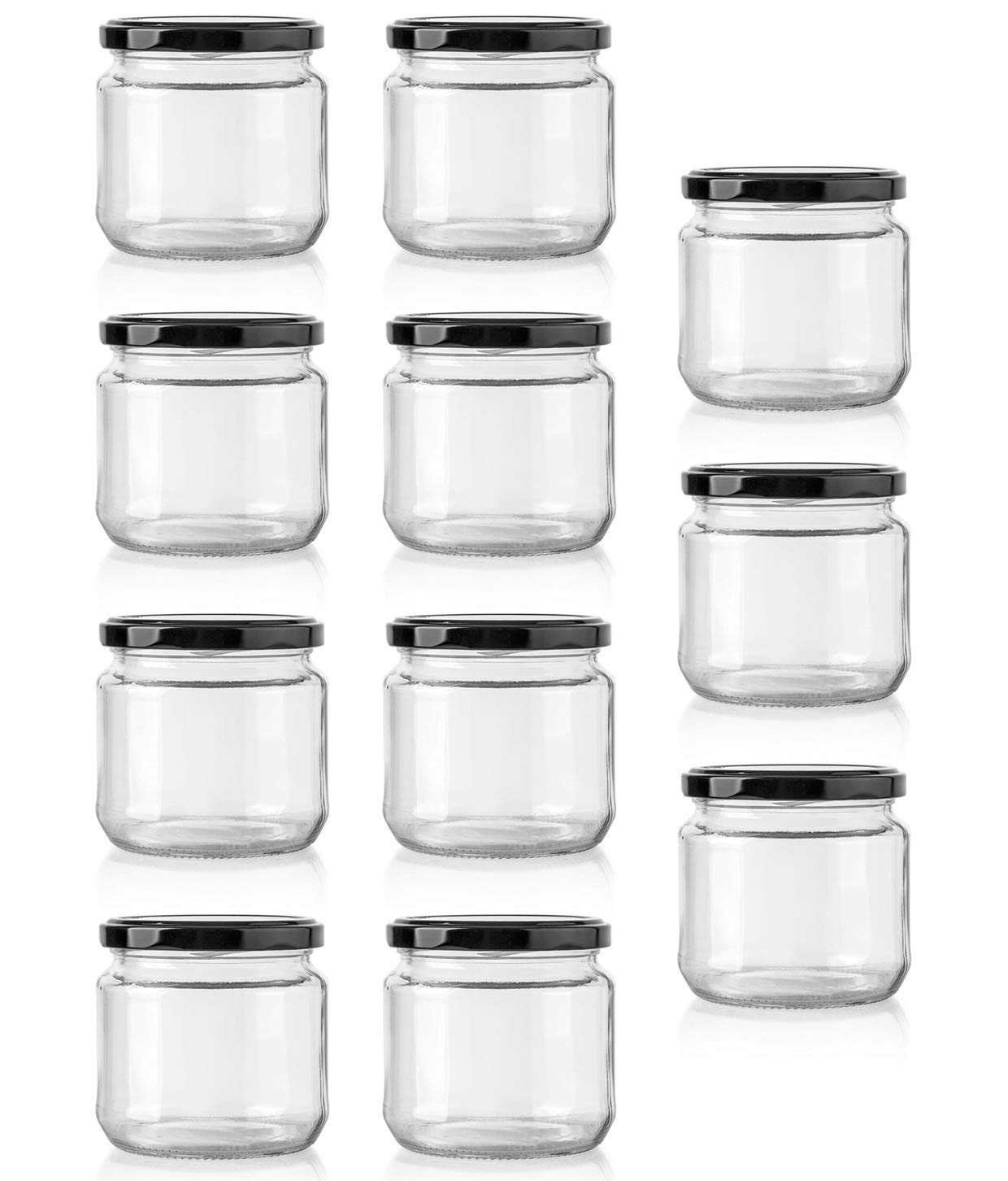 Superbazaar Round Glass Jar With 190 Ml Capacity With Metal Rust Proof Black Color Airtight Cap (set Of 11)- Transparent