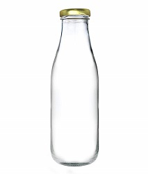 Superbazaar Milk, Water And Juice Glass Bottle With Air Tight Cap - 300 Ml - Transparent