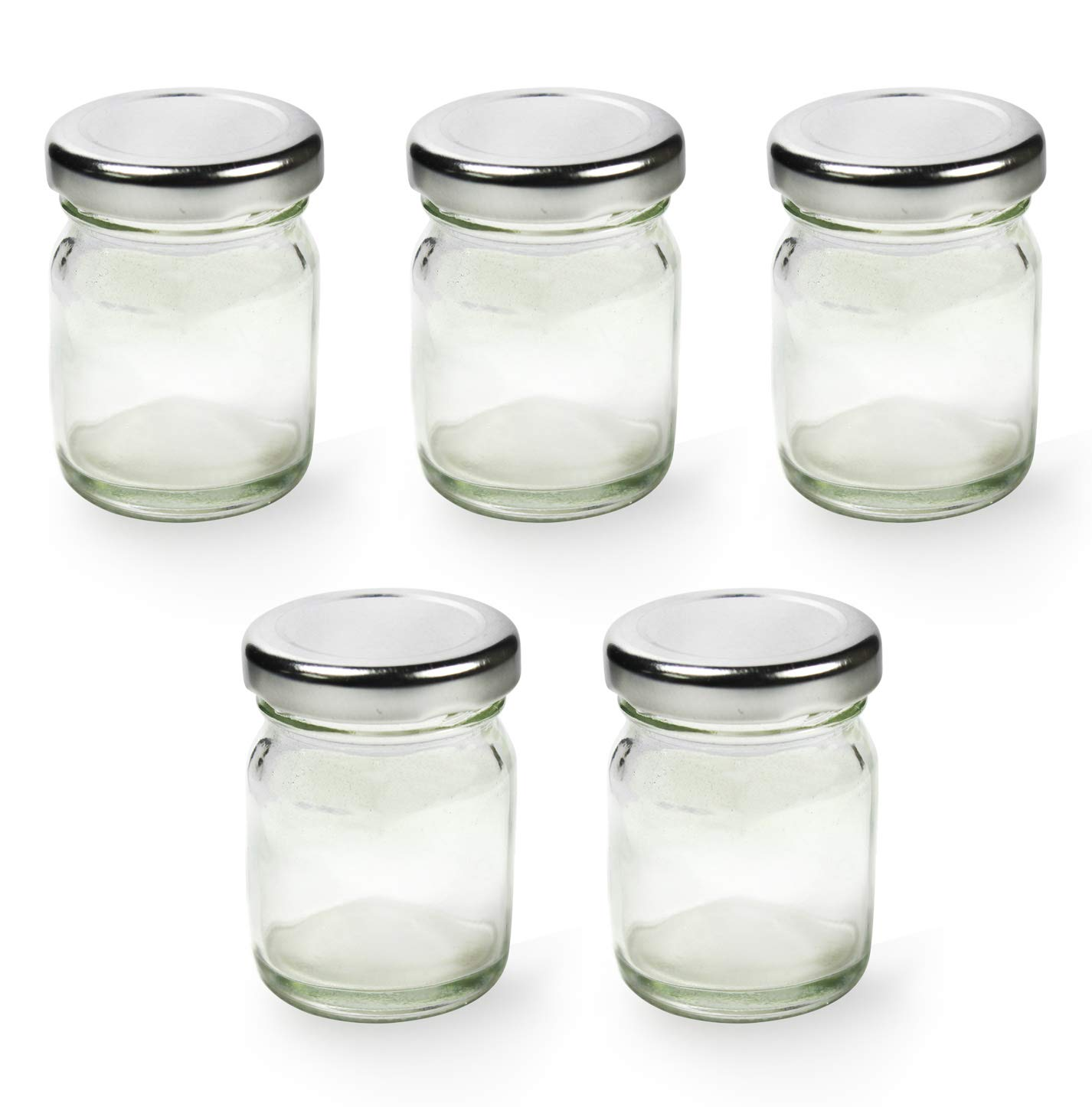 Superbazaar Glass Small Jar With Airtight And Rust-proof Cap 60 Ml - Transparent (set Of 5)