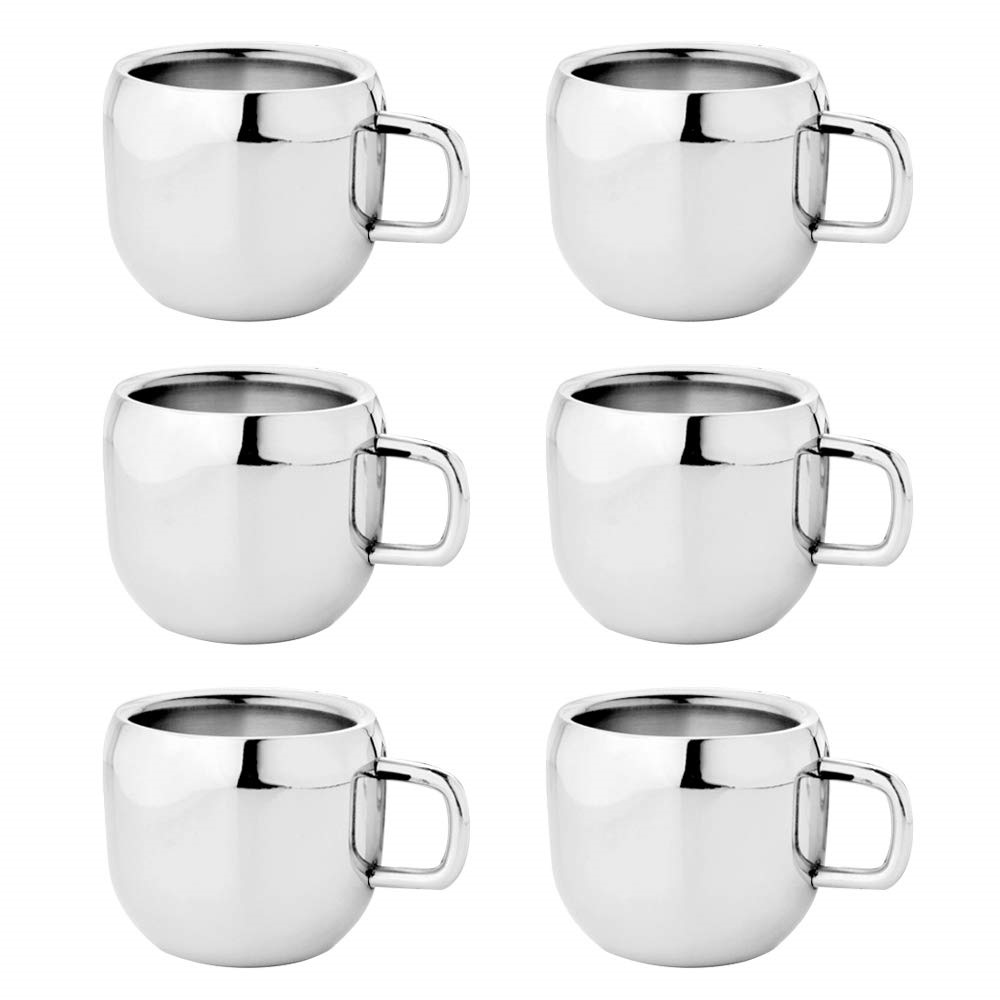 Goldtree Stylish Stainless Steels Double Wall Tea/coffee Apple Cup,dimensions: 6.5 X 6.5 - Set Of 6 Pcs