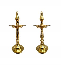 Superbazaar Brass Fancy Kerala Diya Oil Lamp (kuthu Vilakku)  (set Of 2 Pcs)
