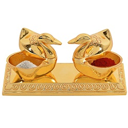 Superbazaar Golden Metal Love Bird Duck With Chandan Roli Chopda Pair For Gift And Pooja Purpose 1 Pc