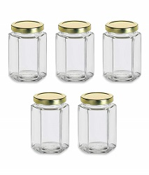 Superbazaar Glass Jar 250 Gram Capacity With Metal Gold Color Rust Proof Air Tight Cap,(set Of 5 Pcs)