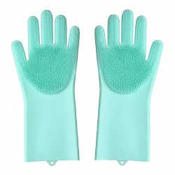 Superbazaar Silicone Non-slip, Dishwashing And Pet Grooming Scrubbing Gloves Set Of 2 Pcs