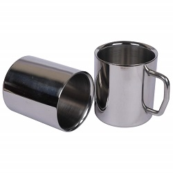 Superbazaar Stainless Steel Double Wall Coffee, Milk, Tea Cup 250 Ml - 2 Pcs