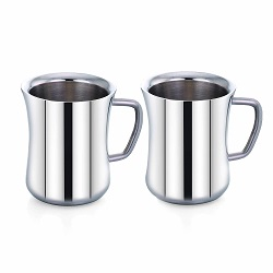 Superbazaar Stainless Steel Double Wall Mugs Tea/coffee Cups Drinking Cup - 2 Pcs